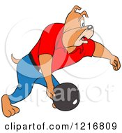 Poster, Art Print Of Bulldog Swinging A Bowling Ball