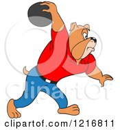 Poster, Art Print Of Bulldog Swinging His Arm Far Back With A Bowling Ball