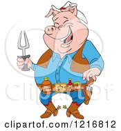 Clipart Of A Laughing Cowboy Pig Holding A Bbq Fork And Wearing Sauces On A Belt Royalty Free Vector Illustration by LaffToon