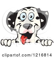 Clipart Of A Happy Dalmatian Dog Panting Over A Sign Royalty Free Vector Illustration by Dennis Holmes Designs