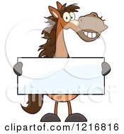Clipart Of A Happy Brown Horse Holding A Sign Royalty Free Vector Illustration by Hit Toon