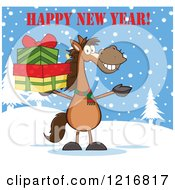 Happy New Year Greeting Over A Brown Horse Holding Christmas Gifts In The Snow