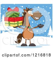 Happy Brown Horse Holding Up A Stack Of Christmas Gifts In The Snow