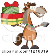 Clipart Of A Happy Brown Horse Holding Up A Stack Of Christmas Gifts Royalty Free Vector Illustration by Hit Toon