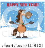 Happy New Year Greeting Over A Welcoming Brown Horse In The Snow