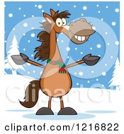 Clipart Of A Happy Welcoming Brown Horse In The Snow Royalty Free Vector Illustration