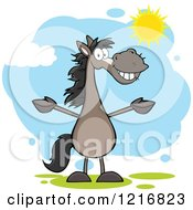 Happy Welcoming Gray Horse Standing Upright With Open Arms In The Sun