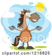 Clipart Of A Happy Brown Horse Standing Upright And Holding Out His Legs In The Sunshine Royalty Free Vector Illustration