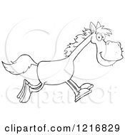 Clipart Of A Happy Outlined Horse Running Royalty Free Vector Illustration