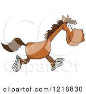 Clipart Of A Happy Brown Horse Running Royalty Free Vector Illustration