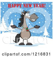 Happy New Year Greeting Over A Welcoming Gray Horse In The Snow