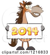 Clipart Of A Happy Brown Horse Holding A New Year 2014 Sign Royalty Free Vector Illustration