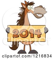 Happy Brown Horse Holding A Wooden New Year 2014 Sign