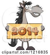 Clipart Of A Happy Gray Horse Holding A New Year 2014 Sign Royalty Free Vector Illustration