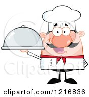 Cartoon Happy White Chef With A Mustache Holding A Cloche Platter