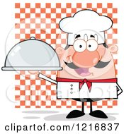 Clipart Of A Cartoon Happy White Chef With A Mustache Holding A Platter Over Checkers Royalty Free Vector Illustration by Hit Toon