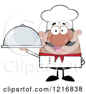 Clipart Of A Cartoon Happy Black Chef With A Mustache Holding A Cloche Royalty Free Vector Illustration