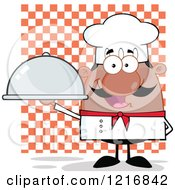 Clipart Of A Cartoon Happy Black Chef With A Mustache Holding A Cloche Over Checkers Royalty Free Vector Illustration by Hit Toon