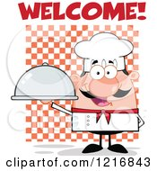 Clipart Of A Cartoon Happy White Chef With A Mustache Holding A Cloche Platter Under Welcome Royalty Free Vector Illustration by Hit Toon