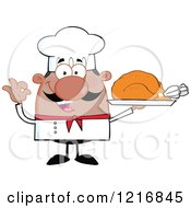 Clipart Of A Cartoon Happy Black Chef With A Mustache Holding A Roasted Turkey On A Platter Royalty Free Vector Illustration