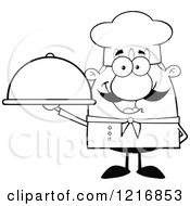 Clipart Of An Outlined Cartoon Happy Chef With A Mustache Holding A Cloche Royalty Free Vector Illustration
