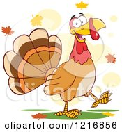 Clipart Of A Cartoon Happy Turey Bird Walking In Autumn Leaves Royalty Free Vector Illustration