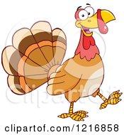 Clipart Of A Cartoon Happy Turey Bird Walking Royalty Free Vector Illustration
