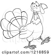 Clipart Of An Outlined Cartoon Happy Turey Bird Walking Royalty Free Vector Illustration