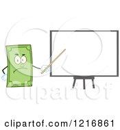 Clipart Of A Mad Dollar Bill Mascot Giving A Presentation Royalty Free Vector Illustration