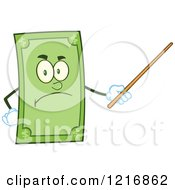 Clipart Of A Mad Dollar Bill Mascot Using A Pointer Stick Royalty Free Vector Illustration