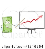 Clipart Of A Happy Dollar Bill Mascot Pointing To A Profit Chart Royalty Free Vector Illustration by Hit Toon