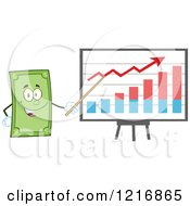 Clipart Of A Happy Dollar Bill Mascot Pointing To A Growth Graph Royalty Free Vector Illustration by Hit Toon