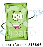 Clipart Of A Happy Dollar Bill Mascot Waving Royalty Free Vector Illustration