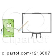 Clipart Of A Happy Dollar Bill Mascot Giving A Presentation Royalty Free Vector Illustration