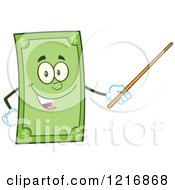 Clipart Of A Happy Dollar Bill Mascot Using A Pointer Stick Royalty Free Vector Illustration