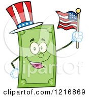 Happy Patriotic Dollar Bill Mascot Waving An American Flag