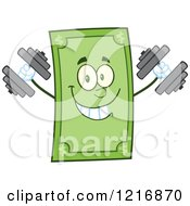 Clipart Of A Happy Dollar Bill Mascot Working Out With Dumbbells Royalty Free Vector Illustration