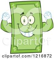 Clipart Of A Happy Dollar Bill Mascot Flexing Royalty Free Vector Illustration