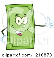 Clipart Of A Happy Dollar Bill Mascot Giving A Thumb Up Royalty Free Vector Illustration