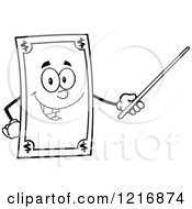 Clipart Of An Outlined Happy Dollar Bill Mascot Using A Pointer Stick Royalty Free Vector Illustration