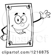 Clipart Of An Outlined Happy Dollar Bill Mascot Waving Royalty Free Vector Illustration