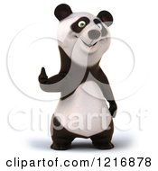 Clipart Of A 3d Panda Holding A Thumb Up Royalty Free Vector Illustration
