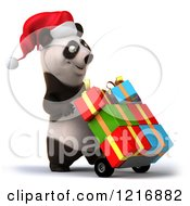 Clipart Of A 3d Panda Pushing Christmas Presents On A Dolly 3 Royalty Free Vector Illustration