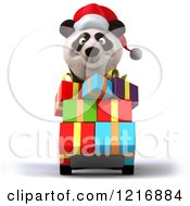 Clipart Of A 3d Panda Pushing Christmas Presents On A Dolly Royalty Free Vector Illustration
