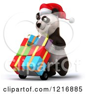 Clipart Of A 3d Panda Pushing Christmas Presents On A Dolly 2 Royalty Free Vector Illustration