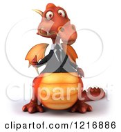 Clipart Of A 3d Red Business Dragon Holding A Thumb Up Royalty Free Vector Illustration by Julos