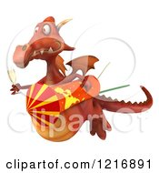Clipart Of A 3d Red Dragon Flying With A Rocket And Champagne Royalty Free Vector Illustration by Julos