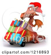 Clipart Of A 3d Red Dragon Pushing Christmas Presents On A Dolly 2 Royalty Free Vector Illustration