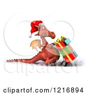 Clipart Of A 3d Red Dragon Pushing Christmas Presents On A Dolly 3 Royalty Free Vector Illustration