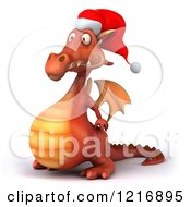 Clipart Of A 3d Red Christmas Dragon Wearing A Santa Hat And Facing Left Royalty Free Vector Illustration